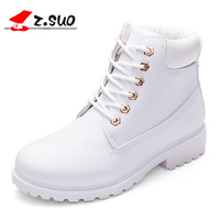 2018 Spring Women Boots PU Leather Women Shoes Lace Up Ankle Boots For Lady Girl Comfortable