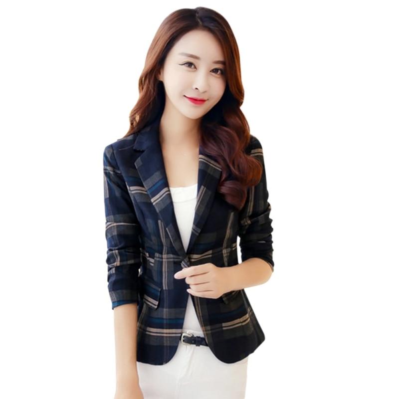 * 2019 Mode Blazer Frauen Plaid Blazer Büro Dame Dünne Blazer Elegante Dünne Jacken Mädchen Büro Mantel *
