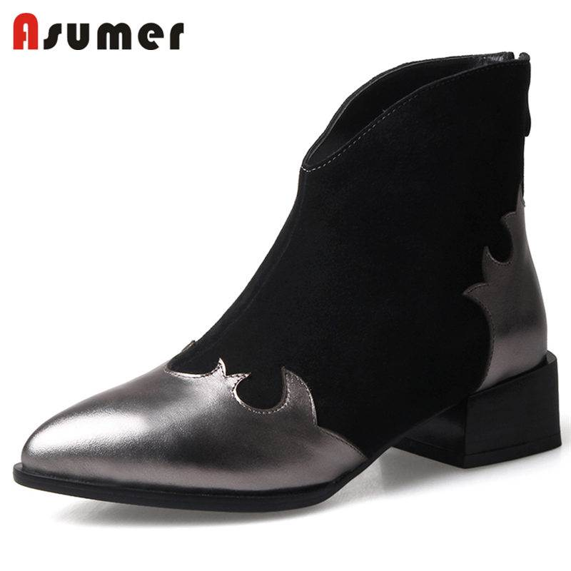 ASUMER NEW 2018 fashion cow suede+genuine leather boots pointed toe ankle boots for women thick med heels zipper autumn bootsASUMER NEW 2018 fashion cow suede+genuine leather boots pointed toe ankle boots for women thick med heels zipper autumn boots