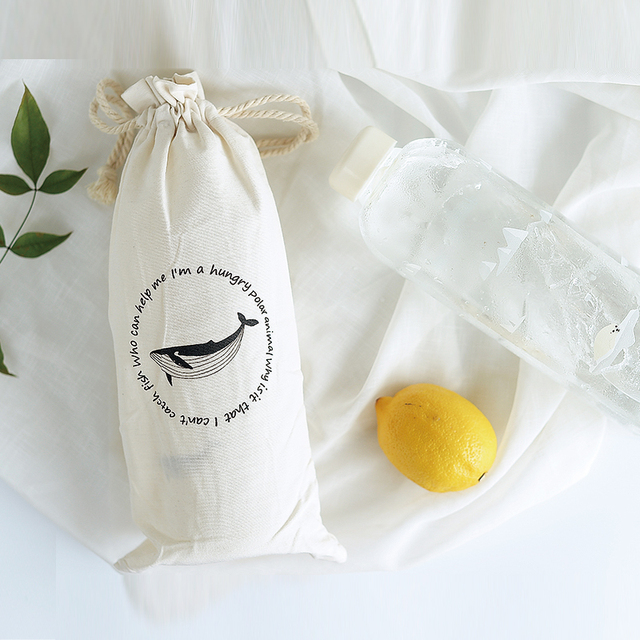 Whale Printed Transparent Glass Bottle
