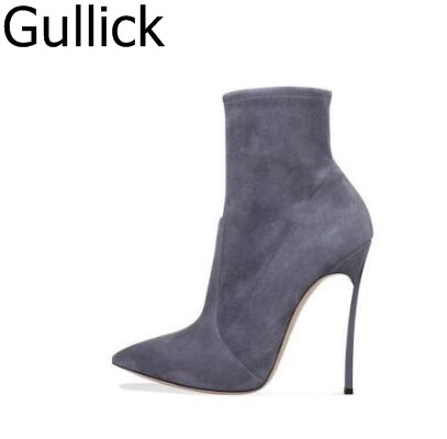 Elegant Blade Heel Ankle Boot Pointy Toe Slip-on Women Winter Short Boot Metal Heels Party Dress Shoes Sexy Ankle Boots newest flock blade heels shoes 2018 pointed toe slip on women platform pumps sexy metal heels wedding party dress shoes