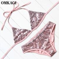 OMKAGI Brand Bikinis Set Swimsuit Swimwear Women Sexy Push Up Swim Suit Swim Wear Beachwear Bikini