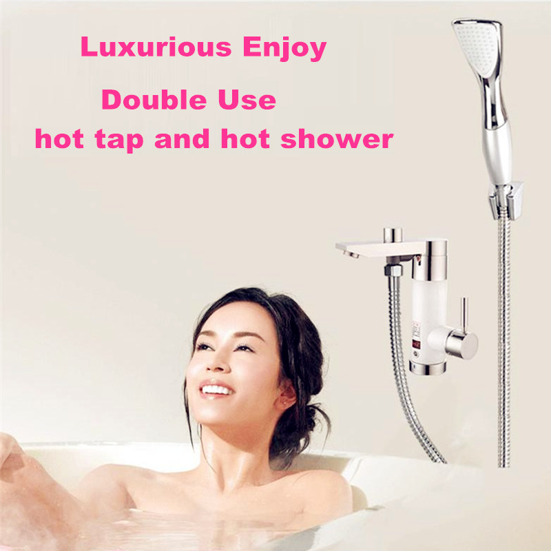 Faucet water heater shower electric tankless continuous hot instantaneous heating for bathroom kitchen sink mixing tap