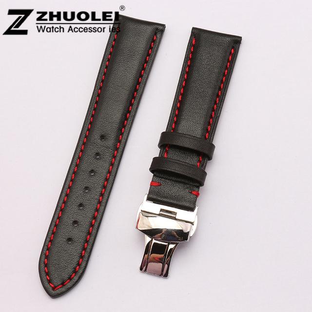 18mm 19mm 20mm 21mm 22mm Mens GenuineLeather Substituição Assista Bracelete Banda de Prata polida deplyment relógio fivela