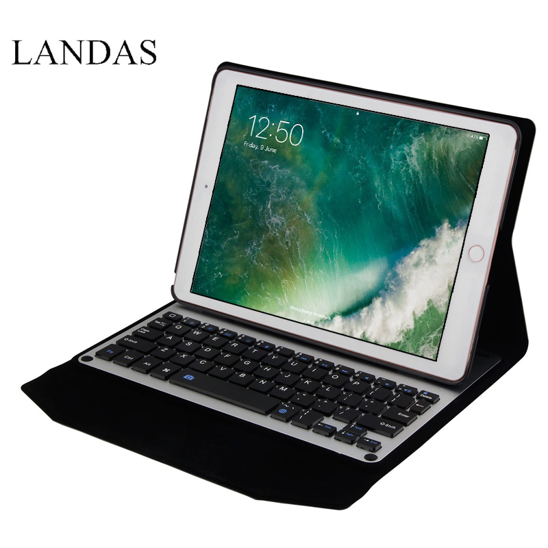Landas Wireless Bluetooth Keyboard Case Cover For iPad 9.7 New 2017 Wireless Keyboard With Case For iPad Pro 9.7 Leather Cover мужчины цветочные печатный толстовки толстовка с капюшоном