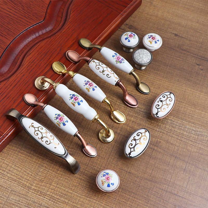 Antique Furniture Handles Marble Vein Knobs and Handles Ceramic Handles for Kitchen Cupboards Cabinet Door knobs Drawer Pulls