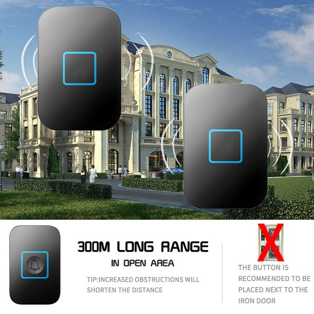 Timbre inalámbrico inteligente resistente al agua 1 botón 3 receptor US EU UK AU Plug 300 M remoto inteligente hogar Luz LED campana de puerta Chime