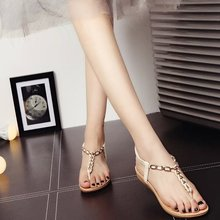 ¡Novedad de 2020! Sandalias planas Vintage de verano, zapatos de mujer con cuentas y cordones, zapatos con Clip para cinturón, chanclas, color negro y Beige