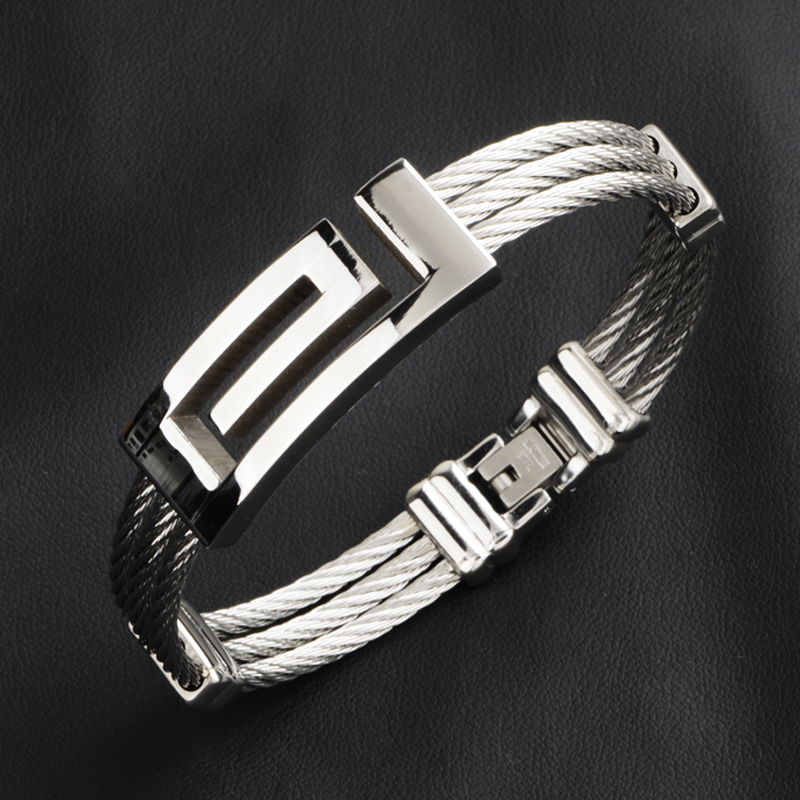 10pcs lot Silver Color Stainless Steel Wire Cable Men Full Metal Jewelry Bracelets Bangles