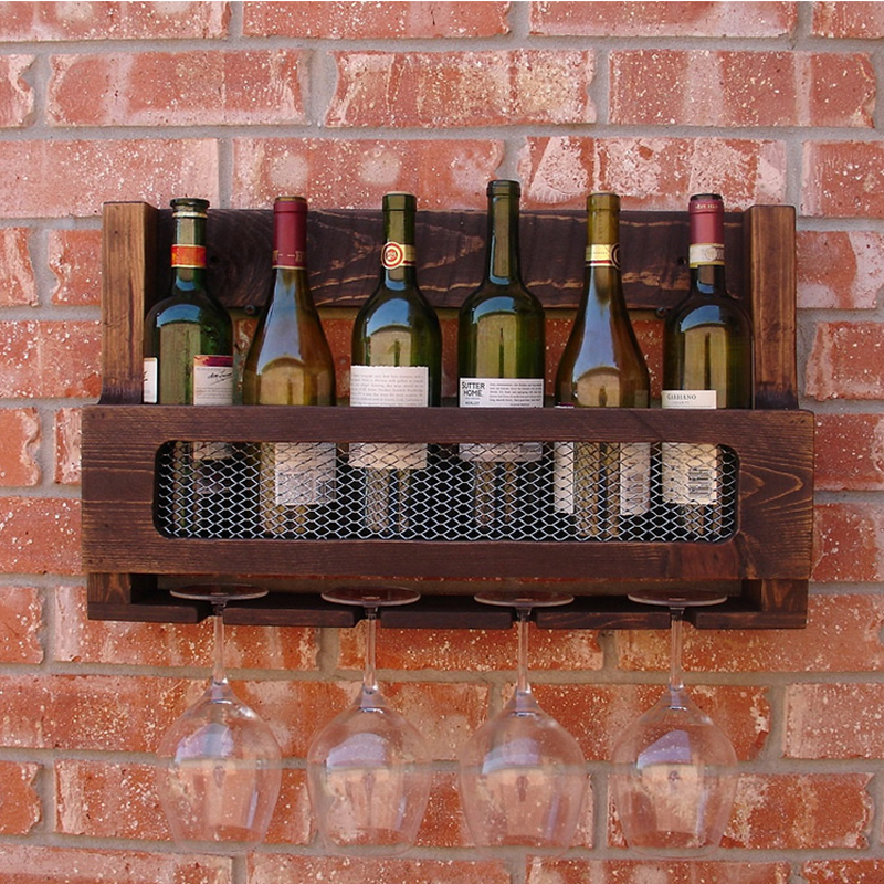 wine rack shelf holder solid wood bar wall wine rack. Black Bedroom Furniture Sets. Home Design Ideas
