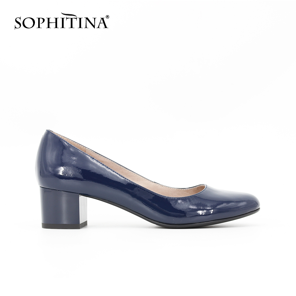 SOPHITINA Elegant Patent Leather women Pumps Dark Blue Spring Autumn Square Middle heel shallow office Career shoes women D061 vik max adult kids dark blue leather figure skate shoes with aluminium alloy frame and stainless steel ice blade