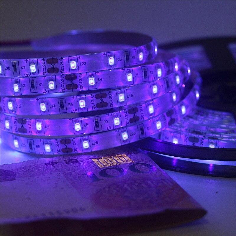0.5m 1m 2m 3m 4m 5m SMD 2835 UV Flexible LED Strip light 12V 60ledsm 395-405nm Ultraviolet Waterproof IP30 IP65 LED Diode Tape