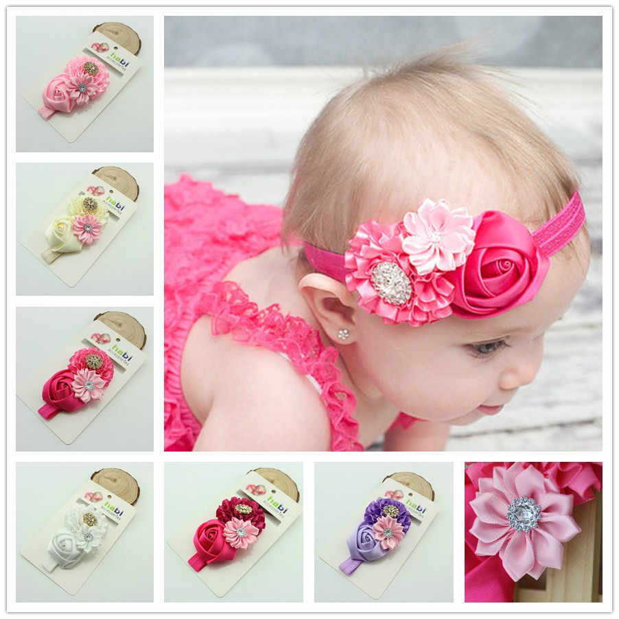 Baby Headband Ribbon Infant Toddler Kids Hair Accessories Girl Newborn crystal bandage Turban Flower Floral Headwear tiara