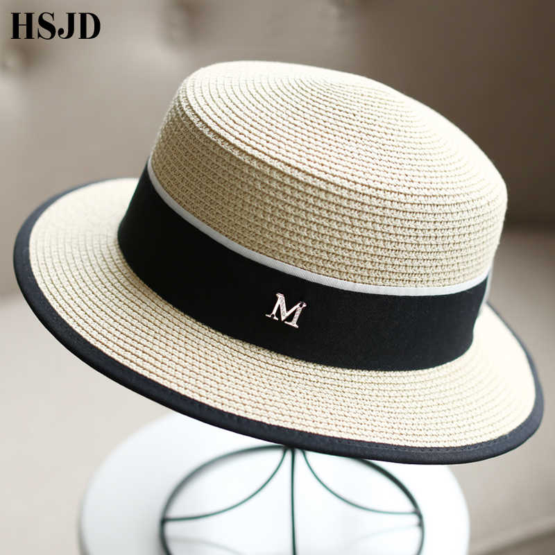 e473198779233 M Letter Ribbon Round Flat Top Straw beach hat Lady Boater sun caps M  panama straw