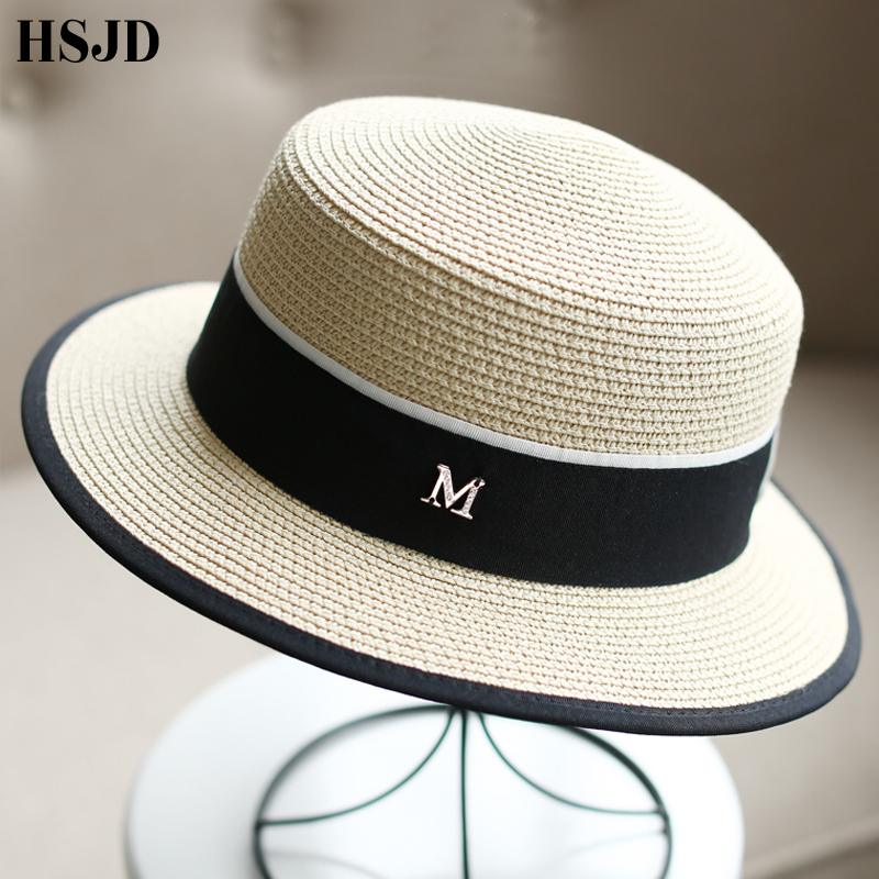 M Letter Ribbon Round Flat Top Straw beach hat Lady Boater sun caps M panama straw fedora women's travel Sun cap gorras-in Women's Sun Hats from Apparel Accessories