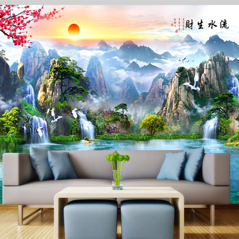 Custom Large Wallpapers For Walls 3D Natural Landscape Photo Murals Chinese Tree Wall Papers for Living Room Home Decor Flowers custom large 3d wallpapers cartoon dog cat animals murals kids walls papers for children room living room home decor painting