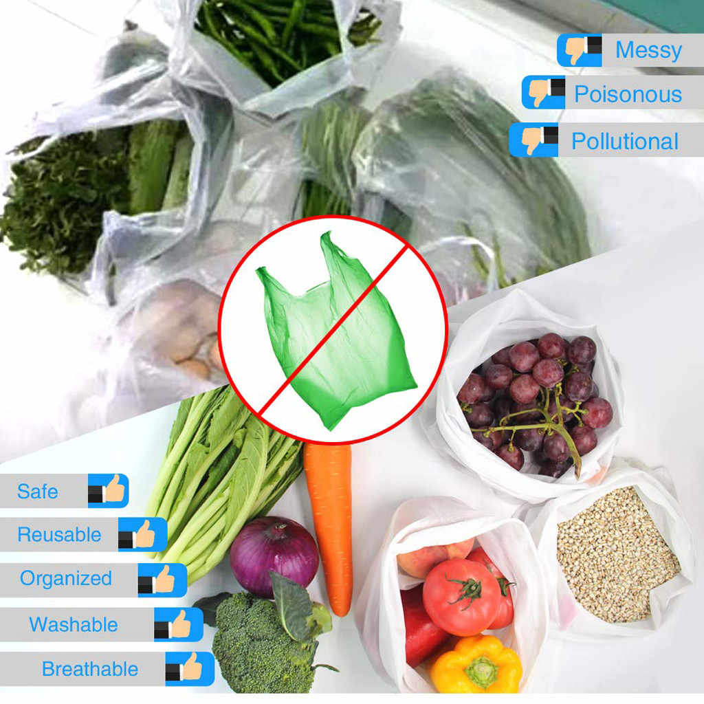 15 pcs Reusable Mesh Produce Bags Washable Eco Friendly Bags Shopping Bags for Grocery Shopping Storage Fruit Vegetable Toys