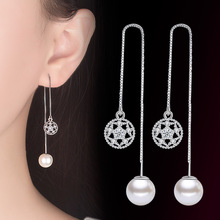 Fanqieliu Real 925 Sterling Silver Chain Line Long Earrings Rhinestone &Pearl Drop Earrings Women FQL1932612 rhinestone long chain earrings