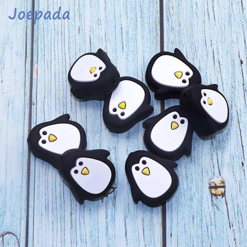 Купить с кэшбэком Joepada 100Pcs/lot Penguin Animal Silicone Teething Beads Food Grade Baby Teether BPA Free Toy DIY Pacifier Chain Accessories