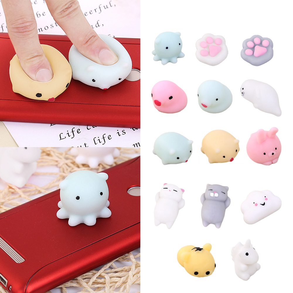 Satkago 14 PCS Assorted Styles Cute Mochi Squishy Squeeze Cartoon Animal Toy for Kids Adults Relieves Stress Anxiety Squishies