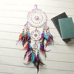 Fashion Design Handmade łapacz snów z piórkiem ozdoba do powieszenia na ścianie pokój Craft Dreamcatcher Ornament