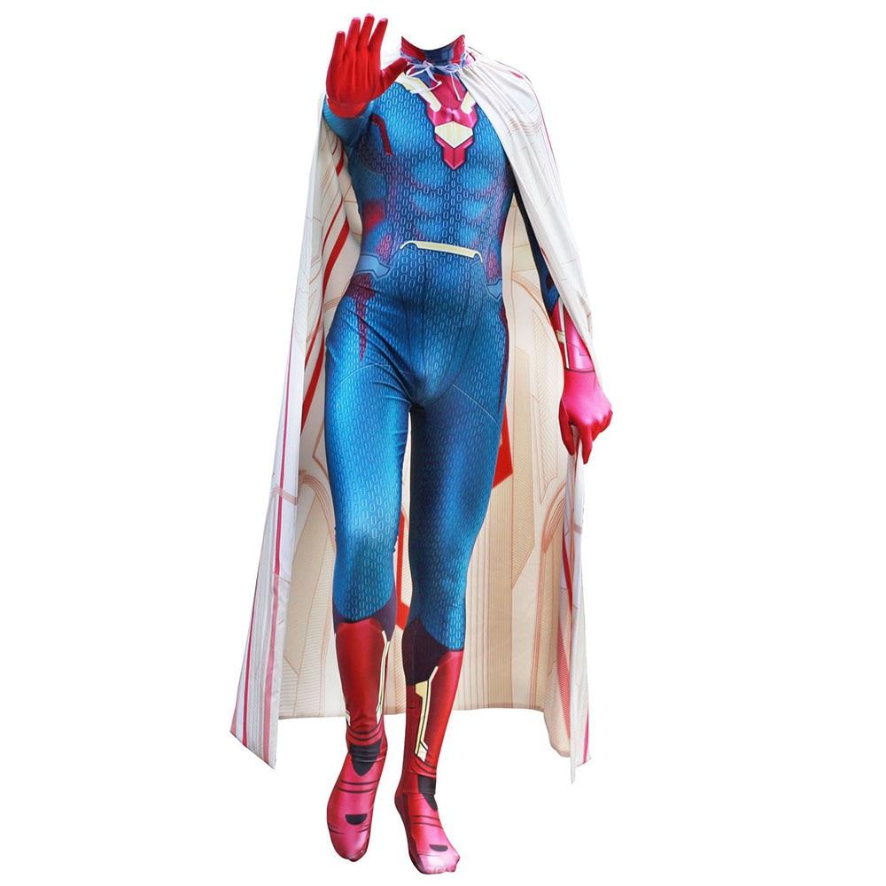 Avengers Infinity War Captain America Vision Cosplay Costumes Lycra Zental Jumpsuit Fancy ball halloween Carnival Bodysuit