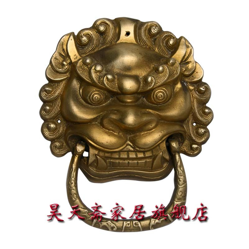 [Haotian vegetarian] antique brass door knocker town house evil beast copper lion head door knocker door handle HTA-008 china brass copper fengshui guardian town house evil foo dog lion statue pair