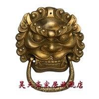 Haotian Vegetarian Antique Brass Door Knocker Town House Evil Beast Copper Lion Head Door Knocker