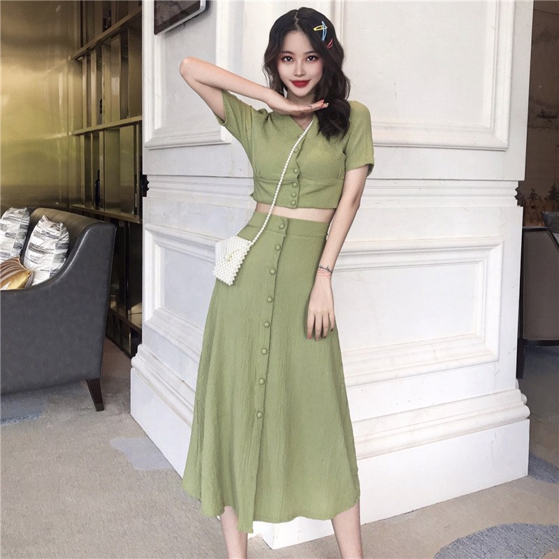 Sexy Solid Crop Tops And A Line Skirt Suit 2 Piece Sets V Neck Women 2019 Summer Short Shirts Mid Skirt Casual Outfit