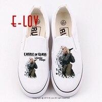Ücretsiz kargo baskılı kanvas ayakkabılar moda kaya yıldız hip hop rahat ayakkabılar kadın kız loafer'lar