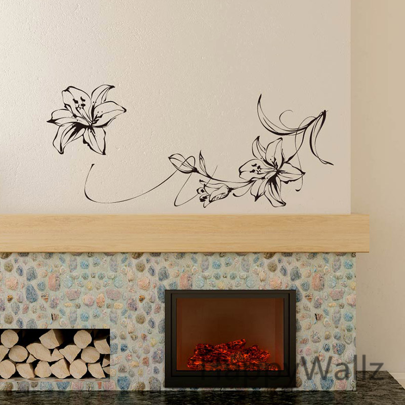 Lily Flower Wall Sticker Flower Lily Wall Decal DIY Beautiful Flower Wall  Decors Lily Flower Wallpaper