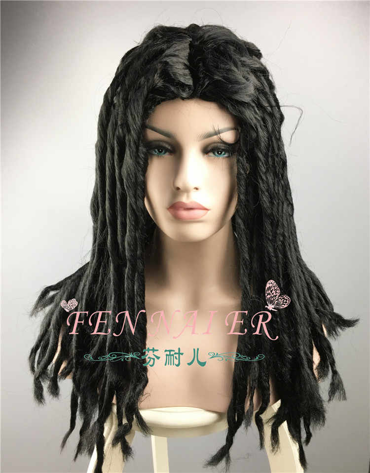 Black Synthetic Dreadlocks Hair Cosplay Wig For Adult Women Men Halloween Christmas Role Playing