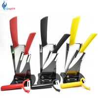 Kitchen Set 6 4 Kitchen Knives Fruit Paring Knife 5 Peeler Knife Holder Top Quality Zirconia