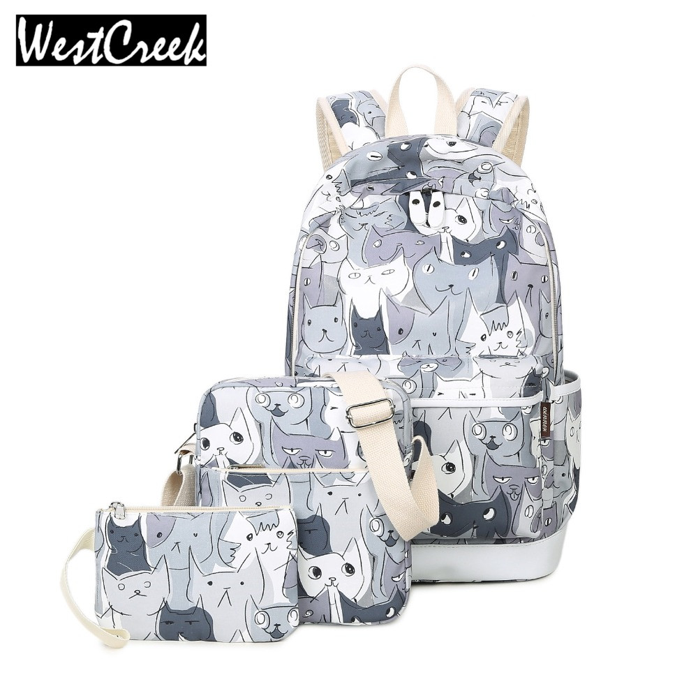 Westcreek Set Backpacks School Bag for Teenage Girls Packbag Cut Cat Printing Bagpack Laptop Canvas Animal Backpack Women ispring latex season матрас 1сп нестандарт