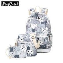 Westcreek Set Mochilas Bolsa de La Escuela para Las Niñas Adolescentes Packbag Cut Cat Impresión Bagpack Portátiles Animal Lienzo Mochila de la Mujer