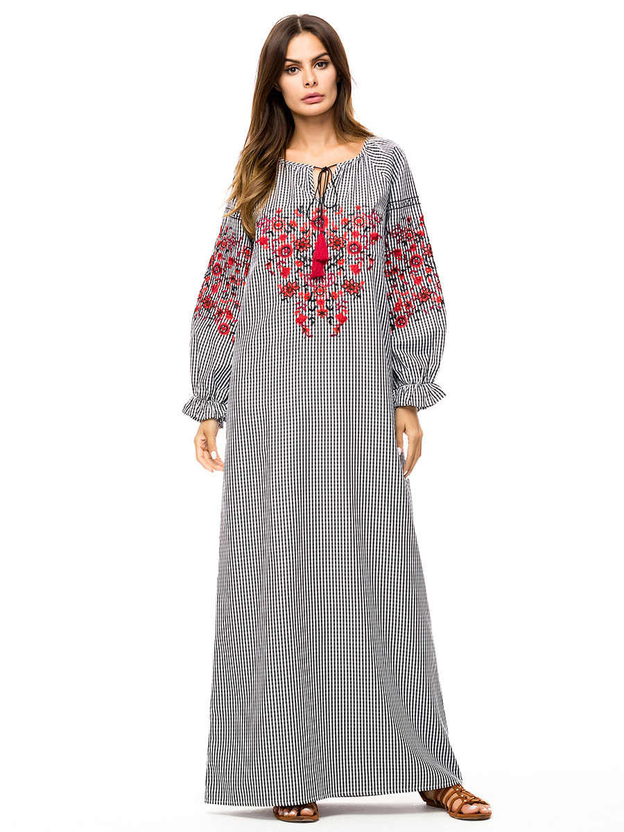bd6d0608df0c9 Casual Embroidery Abaya Maxi Dress Ankle-Length Simple Plus Size Kimono  Loose Long Robe Gowns Bohemia Muslim Islamic Clothing