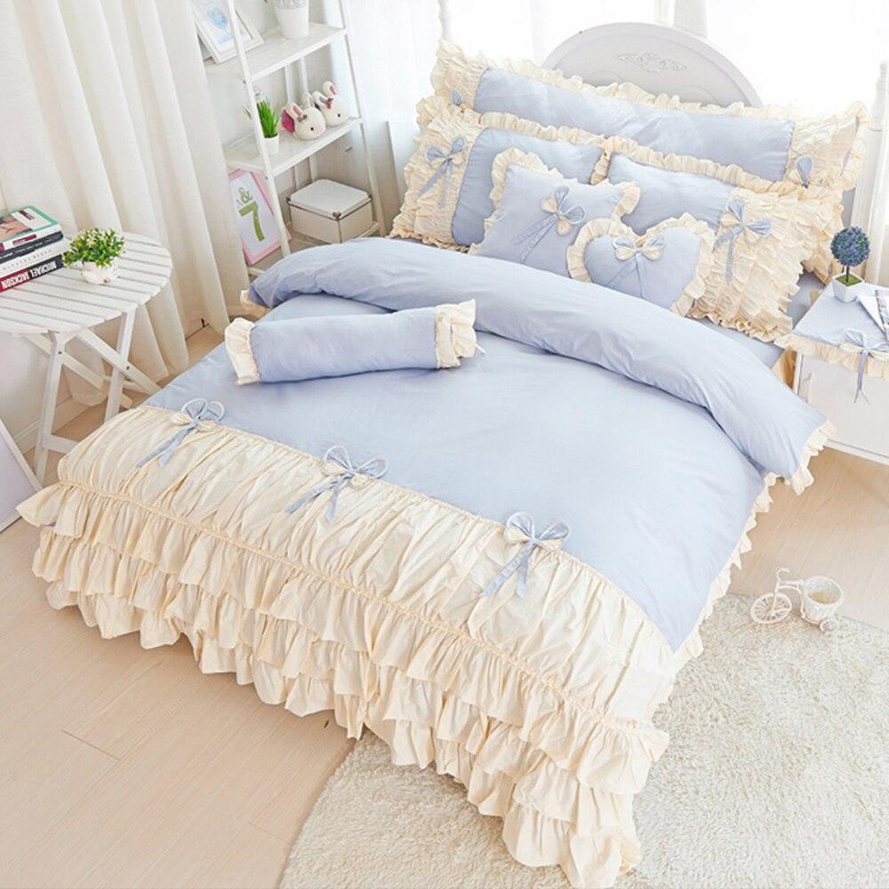 Pink bed sheet design - 100 Cotton Korean Princess Style Lace Bow Knot Design Duvet Cover Bed Sheet Set Pink