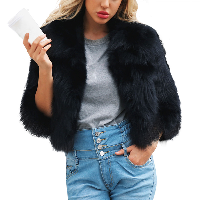 Faux Fur Nice Fashion Winter Women Imitation Fox Fur Coat Pu Leather Long Sleeve Jacket Keep Warm Outwear Lady Casual Overcoat Chaquetas Mujer