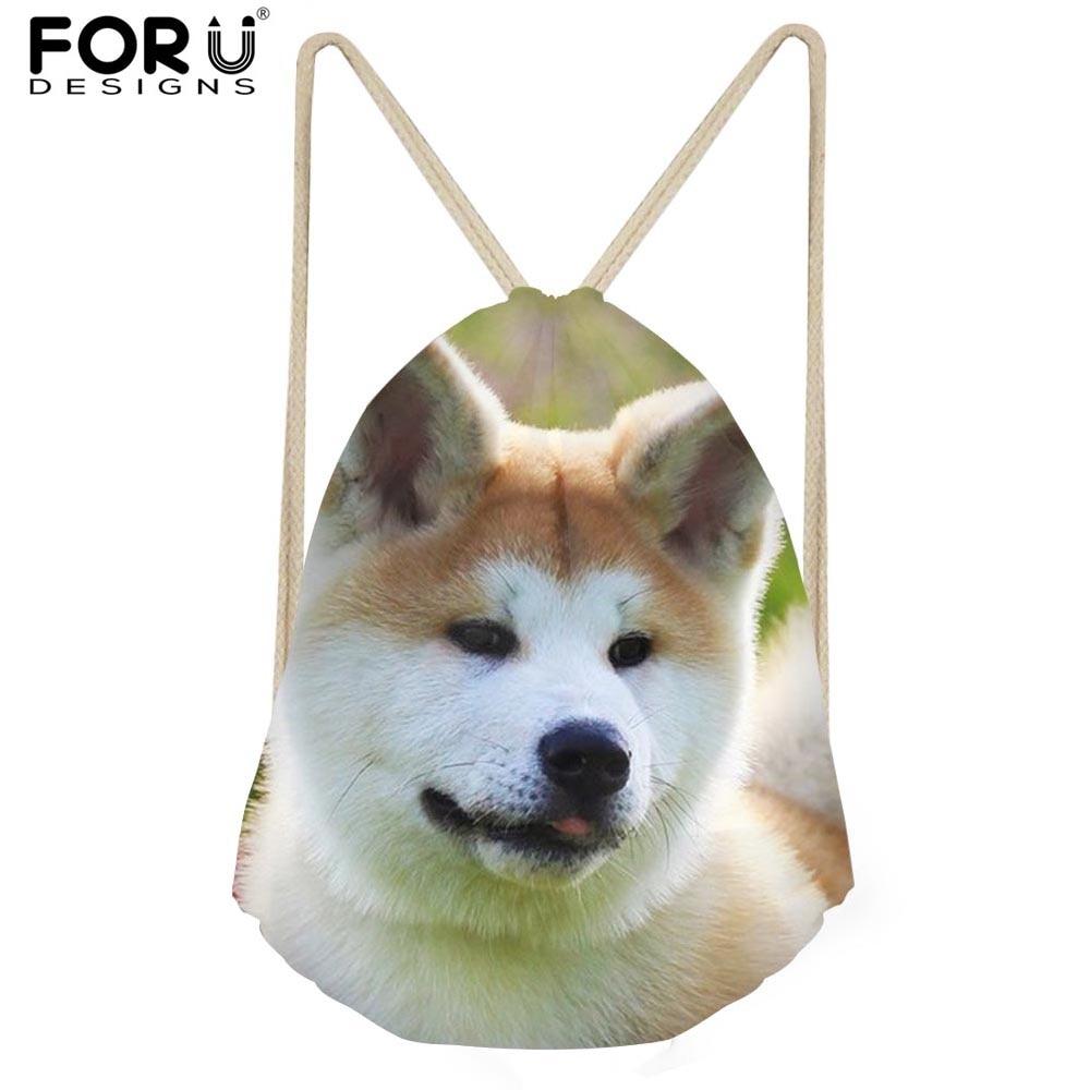 FORUDESIGNS Kawaii Animal Puppy Dog Printed Women Drawstring Bag Small Female Beach Cloth Shoes Storage Bags Girls School Bag