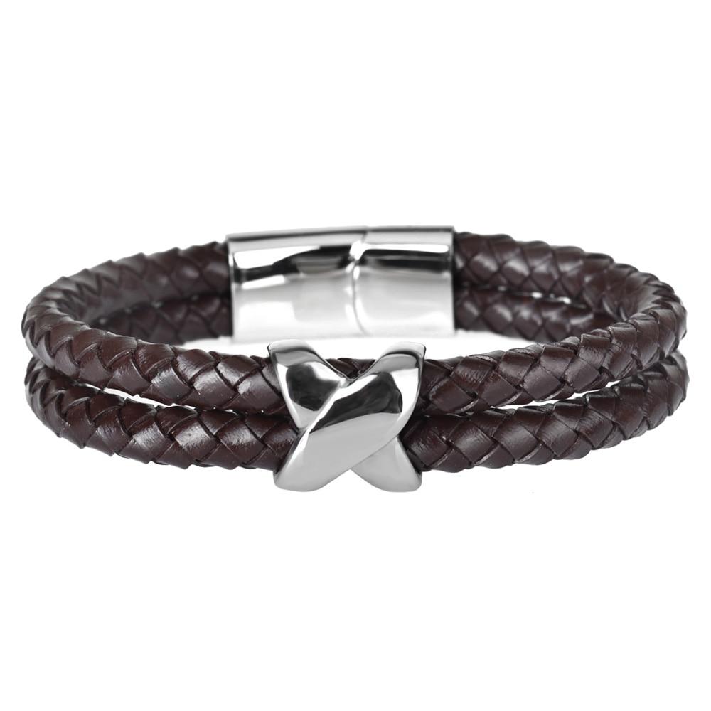 Kirykle style minimaliste croix acier inoxydable Bracelets bijoux religieux aimant fermoir multicouche tressé bracelet en cuir 2