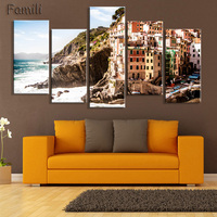 HD 5PCS Wall Art Canvas Fabric Poster Italy Town Landscape Panorama For Kids Room Decor Home