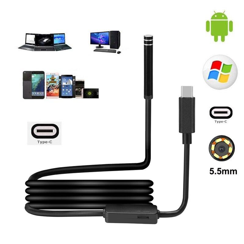 Flexible 5.5mm 6LED USB Type C Étanche Endoscope D'inspection de Serpent Caméra 1 M/3 M/5 M PC Android Pour Huawei LG OnePlus Letv