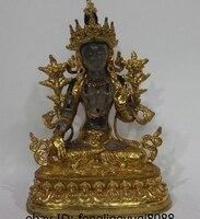 Тибет Буддизм Медь 24 К свинка Декор кристаллами Белая Тара Кван Инь Гуаньинь статуя