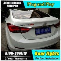 A & t車のスタイリングのための現代エラントラテールライト韓国デザイン新しいエラントラmdテールランプリアランプdrl +ブレーキ+パーク+信号ledライ