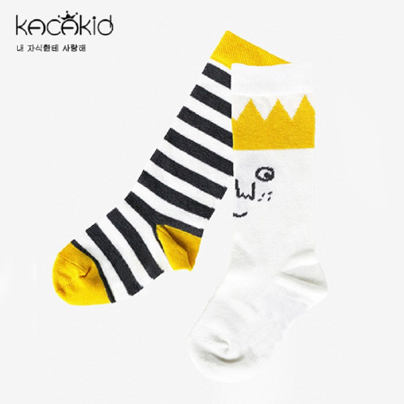 Kacakid Autumn new baby boy girl socks kids tube socks baby cartoon long socks asymmetric crown striped cotton knee socks