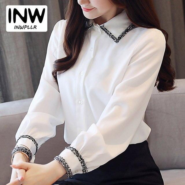 0328abbdd6 S-4XL más tamaño blusa mujeres 2019 otoño Oficina Camisetas Mujer moda  Patchwork Tops de
