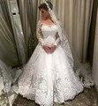 Vestido de noiva A Linha de Mangas Compridas Vestidos de Casamento Robe de Mariage Vestido de Noiva Apliques de Renda Trem Da Varredura Trouwjurk