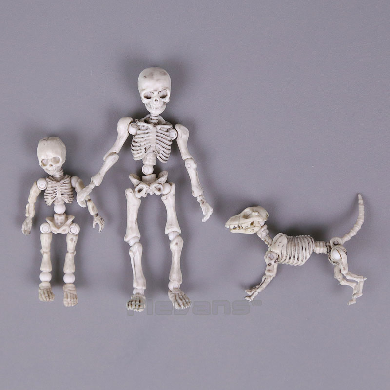 Cute Fashion Design Mr. Bones <font><b>Pose</b></font> <font><b>Skeleton</b></font> Model with Dog Table Desk Book Mini PVC Figure kids Toys Collectible Gift image