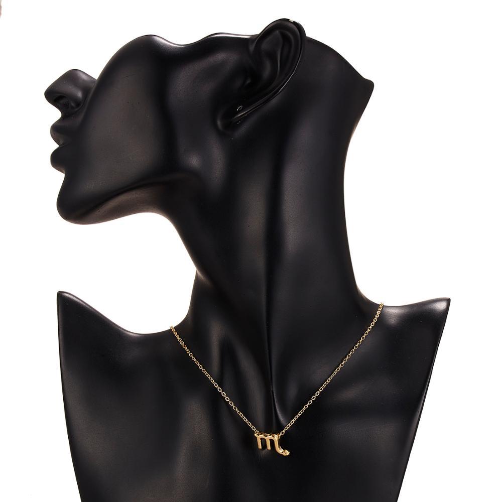 Женская элегантная звезда знак зодиака 12 Созвездие ожерелья подвески Шарм золотая цепочка-Чокер ожерелья для женщин ювелирные изделия Прямая поставка
