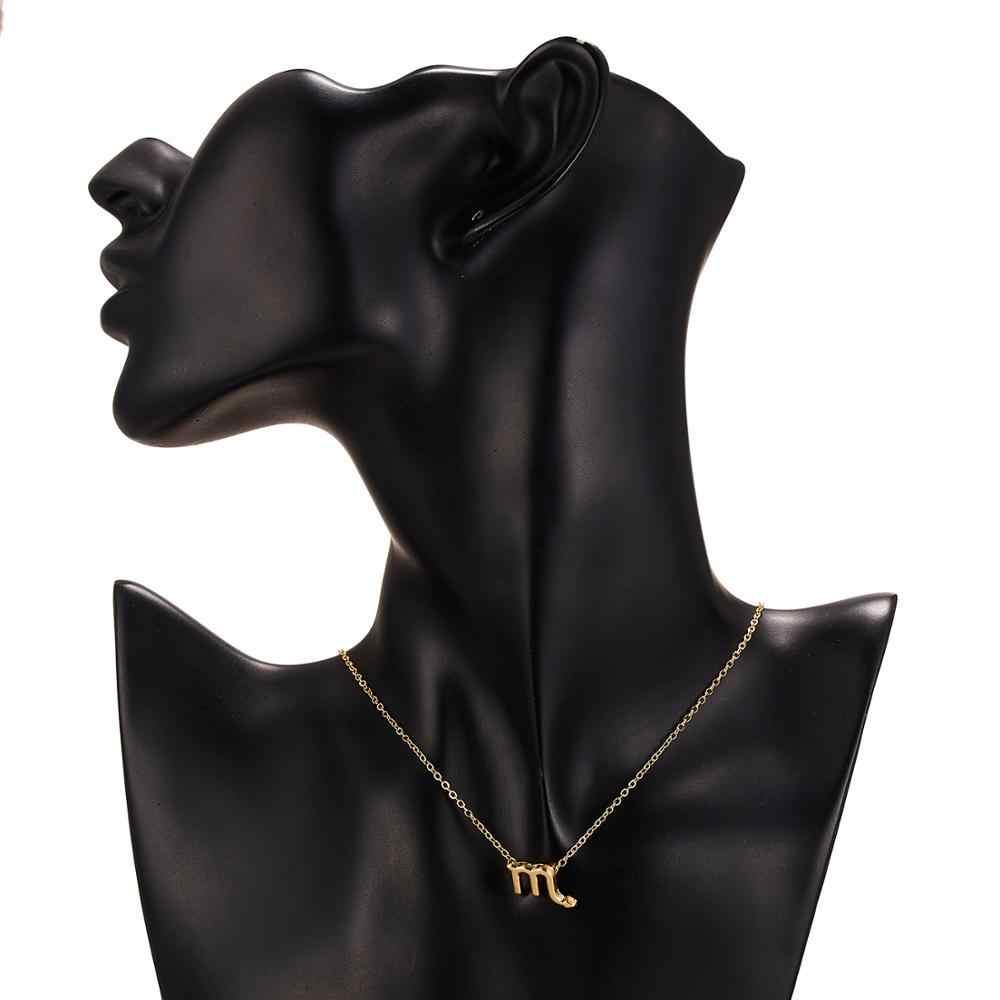 Femme élégante étoile signe du zodiaque 12 Constellation colliers pendentifs breloque chaîne en or collier ras du cou pour les femmes bijoux livraison directe